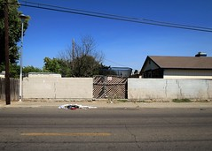 Beware of Dog (rickele) Tags: sacramentocounty northhighlands bewareofdog warning fence gate backyard cinderblock