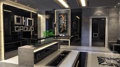 Reception Lobby Design For A Dubai Company (andrei.pastushuk) Tags: reception luxury vip office interior design symmetrical highend stylish concrete lighting comfortable glossy black industrial zen indoor