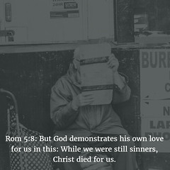 Rom 5:8: Despite our shortcomings, God loves us! (bibleblender) Tags: crucifixion jesus romansbookof
