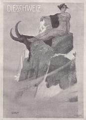 Die Schweiz / Schweizerische illustrierte Zeitung / IV. Jahrgang, Oktober 1900 (micky the pixel) Tags: buch book livre magazin zeitung vintage dieschweiz illustration cover titelblatt goddess rhätia steinbock alpen fels helvetia schweiz suisse switzerland
