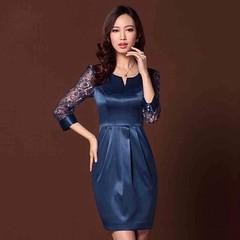 ชุดราตรีผ้าไหม แต่งลูกไม้แฟชั่นเกาหลีไปงานแต่งงานทรงสวยหรูหรา สีน้ำเงิน นำเข้า - พร้อมส่งTJ7523 ราคา1990บาท ชุดราตรีสั้นคอจอบแขนยาว ช่วงแขนและไหล่เป็นลูกไม้น้ำเงินเลื่อมทอง ช่วงเอวจับจีบเข้ารูปหรูหราแบบดาราดบนพรมแดงเอกลักษณ์พิเศษดีไซน์กระเป๋าข้าง เนื้อผ้า