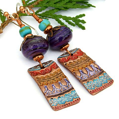 Colorful Tapestry (Shadow Dog Designs) Tags: red glass purple handmade turquoise unique oneofakind ooak jewelry lilac copper earrings dangle lampwork beaded artisan gemstone sterlingsilver colorfultapestry