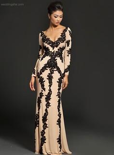 Vintage V-Neck Long Sleeves Long Evening Dress