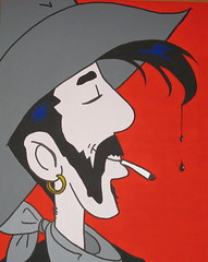 Unlucky Luke (tonitonim) Tags: sardegna red art hat comics painting cowboy paint arte luke pop lucky bd rosso acrilico sigaretta luckyluke acrilyc baffi sardigna tonim tonitonim marcovecchio