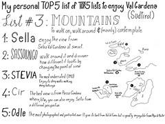 My personal Top 5 list of Top 5 lists to plenty enjoy Val Gardena (Sdtirol). List Nr. 3 Mountains  - done in WorkVisual App (xLontrax) Tags: mountains tourism selva list sella sdtirol valgardena cir stevia wolkenstein tipsandtricks odle sassolungo sketchnote