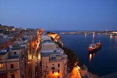 Evening lights in Valletta, Malta (Sizun Eye - slowly catching up) Tags: street city night lights evening boat town europa europe cityscape view dusk capital malta d750 bateau tamron rue ville malte southerneurope valetta grandharbour 2470mm lavallette sizun europedusud tamron2470mmf28 nikond750 sizuneye