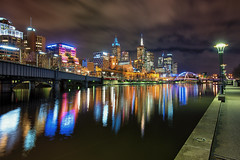 City of both colour and light (Pat Charles) Tags: melbourne victoria australia night reflection reflected reflections yarra river city urban exploration architecture water longexposure nikon lights colour color bridge 1001nights 1001nightsmagiccity
