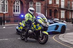 London these days... (Sorin B. VHS) Tags: street london bike police knightsbridge lamborghini metropolitan supercar sloane fined hypercar aventador lp700