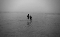 Together we can take on the World [EXPLORE] (Mr B's Photography) Tags: girls sea blackandwhite mist beach