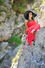 _D3S5088b (Concert Photography and more) Tags: trees red green beauty model nikon rocks outdoor posing carnia modelling reddress nture friuliveneziagiulia outdoorshot d3s effeeffe liveactionhero glagnò chantalparadisi 2016junejulyitalyeffeefferedspirit