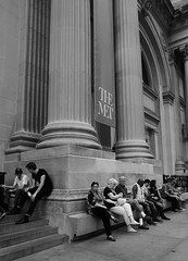 Right angles (alideniese) Tags: themet metropolitanmuseumofart newyork ny usa streetphotography people columns architecture building angles lines blackandwhite bw