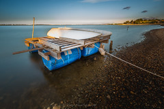 Radeau sans Mduse @Prols (Benjamin MOUROT) Tags: 1022mm 70d canon wideangle grandangle nature landscape paysage light view pov lens cabanesdeprols ayrol tand pond sunrise barque boat dawn palavas lattes hrault languedocroussillon france southfrance longexposure poselongue leefilternisi ndfilter neutraldensityfilter