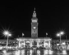 The Ferry Building (mhoffman1) Tags: beauxarts ca california embarcadero ferryterminal hdr portofsanfrancisco sanfrancisco sonyalpha a7r blackandwhite clock clocktower evening monochrome night rainy shiny terminal wet