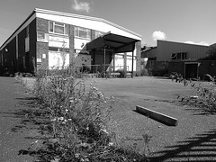 Weeds replaced wages... (cngphotographic) Tags: bexhill factory building derelict empty closed outside outdoors structure relic eastsussex industrial work closure lost weeds concrete fencing blackandwhite monochrome loading windows broken jobs shadow