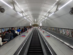 201607058 London subway station 'Leicester Square' (taigatrommelchen) Tags: 20160626 uk london cityofwestminster central perspective icon urban stairs railway railroad mass transit subway station tunnel