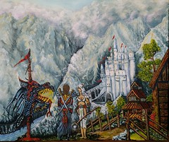 THE DRAGON SLAYERS (tomas491) Tags: castle painting fantasy art dragon dragonslayer warrior mage mauntain mountain mountains spear banner sword swords banners woman women girl girls elf naïve naive tower towers jaw jaws blood bloody head monster hero heroes monsters elves elfs village villages fence fences oilpainting surreal sunshine drawing tomasljunggren fantasypainting
