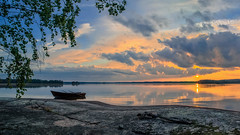 Serene summer evening (Kari Siren) Tags: summer evening lake wooden boat sunset laowa 15mm f4 macro lens