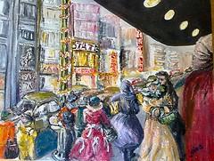 VINTAGE STREET SCENE BY JAIMS ART (jaimsart) Tags: vintage street scene original oil painting canvas jaims art saatchi saatchiart people yellow red green orange black buildings cerise car lamppost