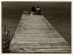 sittin' on the dock of the bay (kurtwolf303) Tags: monochrome olympusem1 omd microfourthirds micro43 people dock anlegestelle steg water wasser topf25 systemcamera sepia 250v10f topf50 topf75 500v20f 750views 900views