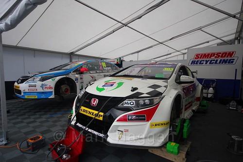 The Speedworks Motorsport garage at the BTCC weekend at Knockhill, August 2016