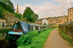 Canal Boat in Todmorden. (shushphoto) Tags: westyorkshirelandscape westyorkshire water landscape canals canalbarges barges pennines