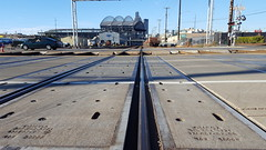 The ball park and the tracks (rve13) Tags: safecofield seattle railroad tracks perspective