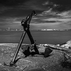 Anchor (Mabry Campbell) Tags: 2014 europe gothenburg gteborg houstonphotographer mabrycampbell may scandinavia sweden vstragtaland anchor bild coastal commercialphotography fineartphotographer fineartphotography foto image longexposure monochrome photo photograph photographer photography seascape shipping squarecrop f56 may212014 20140521h6a5919 24mm sec 100 tse24mmf35l