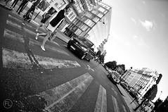 (c'estlavie!) Tags: paris france noiretblanc blackandwhite street nikon fisheye perspective zebra crossing people women girl leg sky cloud parisienne