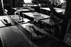 Woodworking (trochford) Tags: wood old blackandwhite bw usa mill monochrome arlington ma mono blackwhite wooden factory massachusetts picture newengland machine historic workshop frame tool woodworking workbench pictureframe manufacturing planer schwamb oldschwambmill