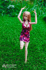 Nariko (astramaore) Tags: blue summer green girl grass fashion toy dance eyes doll purple dancing wind magenta violet dry safari barefoot blonde 16 momoko