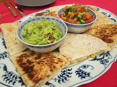 Grilled Yuca Tortillas; Guacamole; Tropical Avocado Salsa Fresca (dimsimkitty) Tags: veganomicon