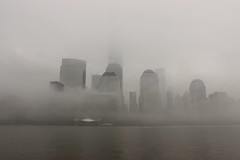 New York's World Trade Center in the fog