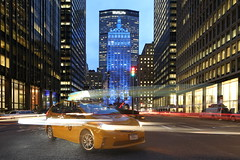 Park Avenue and Helmsley Building - and NYC Taxi (John Cunniff) Tags: nyc newyorkcity longexposure sky urban night lights midtown lighttrails bluehour nycbuildings nycicons nycbluehour