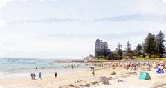 At the beach (boeckli) Tags: seascape painterly beach strand watercolor seaside sand wasser outdoor sommer sydney textures shore sonne ferien deewhy texturen wasserfarben