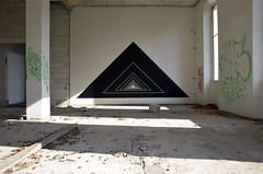 AK_Portal II (| Ak |) Tags: abstract black art abandoned geometric triangles triangle factory geometry ak optical illusion walls opart geomtric abandonedspace postgraffiti opticalart akdwg