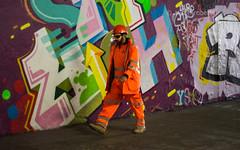 Blending In (Ali -1963) Tags: leakestreettunnel graffiti man fluorescent sunglasses walk london
