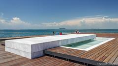 Walk along the waterfront! (kyrsos1) Tags: travel sea summer white happy wooden europe waterfront floor joy sunbath greece thessaloniki marble vacations
