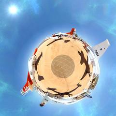 Vintage Aircraft Tiny Planet (Serendigity) Tags: polar usa unitedstates panorama aviation distorted museum tucson arizona us
