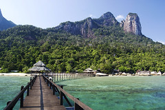Bagus Place jetty (KatieSh) Tags: malaysia travel nikond40 nikon jetty sea bagusplace tioman paradise island mountains holiday ocean