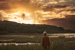The Balloons In September (nathanmagee) Tags: sky landscape concept conceptual emotional surreal surrealism art model self portrait 365 sun rays story canon water marsh
