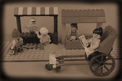 Rickshaw in the old days (Lesgo LEGO Foto!) Tags: lego minifig minifigs minifigure minifigures collectible collectable legophotography omg toy toys legography fun love cute coolminifig collectibleminifigures collectableminifigure market nostalgia wetmarket wet fish fruits stall stalls