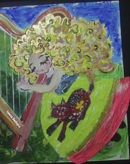 Miau y un harpa (POCKETFA) Tags: acrylic girl fairy tale illustration colors animal cat kitty miyav miau green dress blonde dream mexican art vestido mexicano arte nia sueo harpa msica music