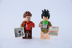 Bad morning (Alex THELEGOFAN) Tags: lego neighbor pizza box beer cup mug dunk me newpapers dressing gown pygamas legography arthur dent