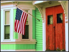 American Flag & Door - Photo Taken by STEVEN CHATEAUNEUF On July 12, 2016 - And Editing Was Done On August 12, 2016 (snc145) Tags: house windows americanflag 40 red white blue green photo patriotic oldglory editedimage chelmsford massachusetts usa outdoor bold vivid colors colorful pretty july122016 august122016 stevenchateauneuf picasa3editing aviaryediting soe thisphotorocks