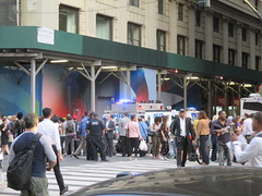 Rush Hour Crowd Walking Past Crime Scene 7th Ave 2016 NYC 5425 (Brechtbug) Tags: akram joudeh attacked an offduty nypd officer with 11inch cleaver from his waistband near penn station height evening rush hour thursday wounding cop face before being shot 18 times by police nyc 2016 midtown manhattan 7th ave 32nd street crowds checking out scene 9152016 new york city crime
