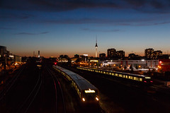 twice a night (grapfapan) Tags: city urban berlin cityscape dusk fernsehturm sbahn railways nightfall