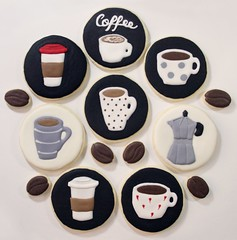 Coffee Themed Cookies! (watchmedostuff) Tags: food cute cup coffee cookies milk beans cookie cream pot foam bakery theme themed sugarcookies lattee