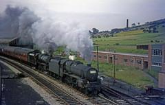 45261 + 45347 at Colne, Lancashire.  30th June 1967.  Colne Wakes Week specials No.3 of 4 (Brit 70013 fan) Tags: br steam lancashire 1967 british greatyarmouth railways steamengine colne britishrailways black5 45261 45347 wakesweek