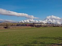 "LMS Jubilee Class 4-6-0 No 45690 Leander  in charge of ""The Cumbrian Jubilee"" leaving Appleby 21st Mar 2015 (penlea1954) Tags: uk no jubilee engine class steam line carlisle appleby settle leander the lms 460 cumbrian stanier 45690"