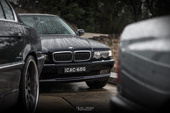 Front up. (God_speed) Tags: wet car rain droplets 7 front limo end bmw series grille luxury 750 740 e38